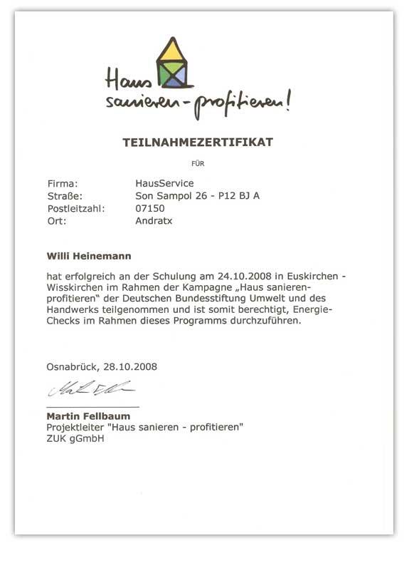Zertifikat Haussanierung