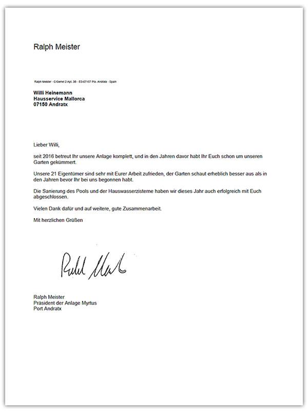 Kundenmeinungen - Hausservice Mallorca, Willi Heinemann
