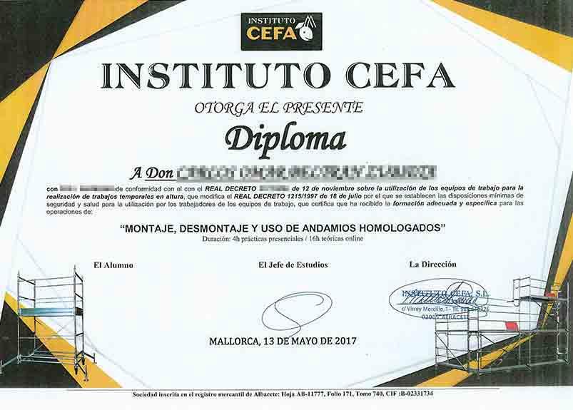 Zertifikat für die Montage und Demontage zugelassener Gerüste