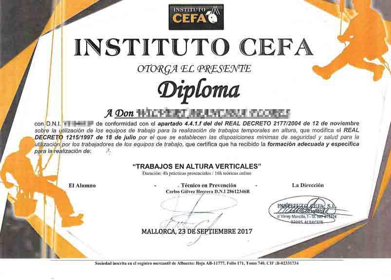 Zertifikat - Arbeiten in der Höhe