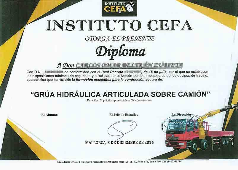 Zertifikat für die Bedienung eines Hydraulischen Gelenkkran
