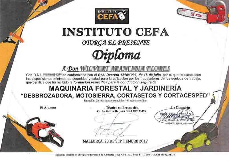 Zertifikat - Arbeiten mit Maschinen