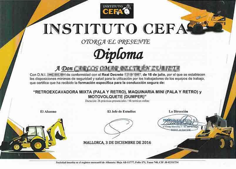 Zertifikat für Mini-Baufahrzeuge wie Frontlader, Hecklader, Stapler