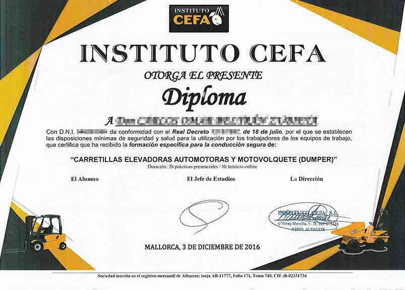 Zertifikat für motorisierte selbstfahrende Gabelstapler