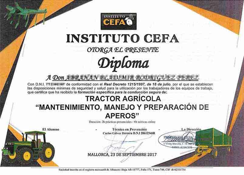 Zertifikat für Tractor mit Anhänger, Handhabung und Vorbereitung von Geräten